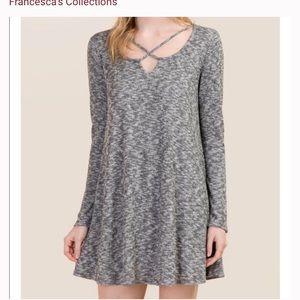 Francesca's gray criss cross sweater dress